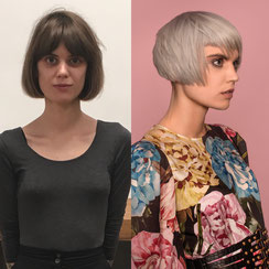 Haarschnitt: ANDROGYNE BOB - PONY - VAIL, Haarfarbe: KÜHLES SILBERBLOND
