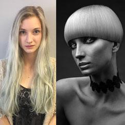 Haarschnitt: klassischer Bowl-Cut, Haarfarbe: Platinblond