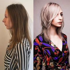 Haarschnitt: Longlayered Transient-Length-Cut, Haarfarbe: kühles Champagner-Blond