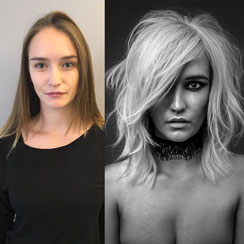 Haarschnitt: Transient Haircut, Haarfarbe: Weißblond