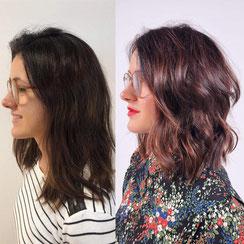 Haarschnitt: Wavy-Bob Rosie-Cut, Haarfarbe: sonnengebleichte Balayage Schokobraun Schokorot Kastanienbraun