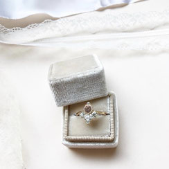 Ring Box Ringbox Samt Velvet Vintage Eckig