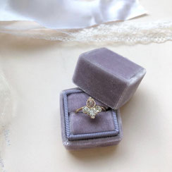 Ringbox Samt Ring Box Velvet Eckig Flieder Lavendel