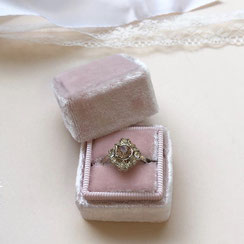 Ringbox Samt Ring Box Velvet Eckig Rosa