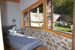 unusual ecolodge with stone wall