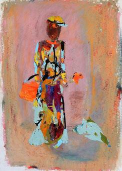 Collage auf Papier - Die Frau (40x50cm)