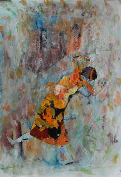 Collage auf Papier - Die Tanzende (40x50cm)