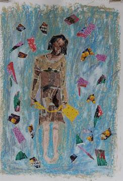 Collage auf Papier - Die Wartende (40x50cm)
