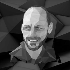 Schwarz Weiss Polygon Grafik, Portrait von Philipp Brunschwiler, Fotograf IGNITION Murray McCreadie
