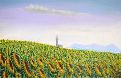 Sonnenblumen, Acryl auf Leinwand, 30x70