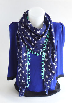foulard chèche femme blanc bleu pompon rose | Une Embellie