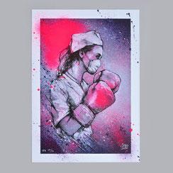 reproduction d'art print impression affiche art edition limitée corona virus coronaart infirmière gants boxe combattre virus soignant dessin confinement boxe covid 19