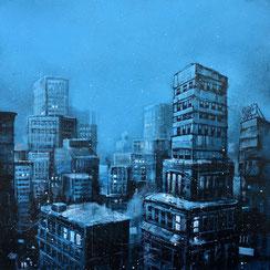 art tableau peinture ville newyork toits nocturne nuit night bleu sombre original graffmatt painting œuvre d'art