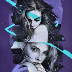 peinture art contemporain urbain tableau streetart portrait femme violet moderne artistique galerie d'art france lyon chambéry graffiti art œuvre d'art