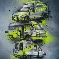 graffmatt peinture aerosol œuvre art tabelau streetart contemporain portrait femme fluo rose france rhone alpes auvergne camion utilitaire voiture streetart graff
