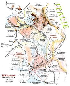 """Carte extraite du livre """"Hommes et ouvrages de la Ligne Maginot""""(Mary, Hohnadel, Sicard) tome 5 p.31"""