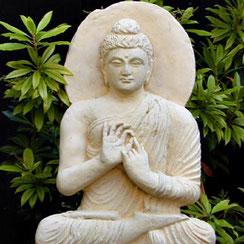 Teaching Gandhara-Buddha, half relief