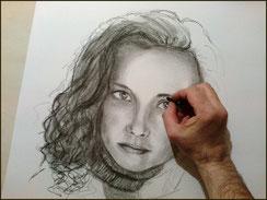 Portrait d'après photo crayon fusain