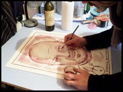 Portrait à la peinture au vin rouge