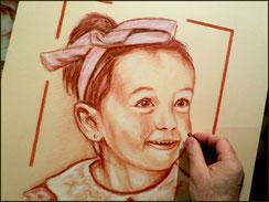 Portrait à la sanguine by crayon lunaire