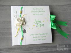 Gästebuch Kommunion Konfirmation Taufe Rosen Engel weiß grün gelb