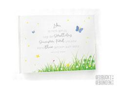 Gästebuch Namensweihe Taufe Geburtstag Druck individuelles Layout im Buch Illustration Gedicht Wiese Schmetterlinge Blumen Marienkäfer