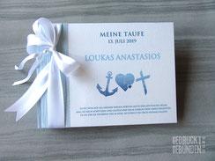 Taufbuch selbst gestalten Foto Gästebuch Taufe blau weiß Taufsymbole Kreuz Herz Anker Glaube Liebe Hoffnung Taufgästebuch personalisierbar
