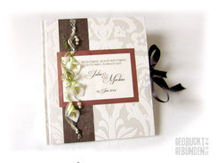 Gästebuch Hochzeit Calla Ringe weiß creme braun grün Hochzeitsgästebuch personalisiert Hochzeitsgeschenk Memories Wedding Guestbook Retro