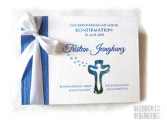Gästebuch Konfirmation Kommunion Kreuz Mosaik Metallicblau Weiß Blautöne A5 Querformat 64 Seiten weiß