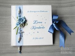 Gästebuch Erstkommunion Rosen Kreuz Herzen Name weiß blau silberfarben Taufgästebuch personalisierbar Hochzeitsgästebuch individualisierbar