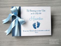 Foto Gästebuch Taufe Junge Babyfüße dunkelblau weiß hellblau A5 Querformat 40 Seiten Fotokarton weiß individualisierbar
