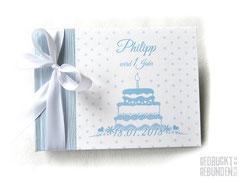 Foto Gästebuch Kindergeburtstag Grafik Geburtstagstorte Kerze Punkte A5 Querformat 20 Blatt weiß Gästebuch 1. Geburtstag mit Namen hellblau weiß