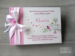 Fotogästebuch Vogel im Baum Vogelhaus Herzen Buchgeschenk personalisiert in Wunschfarben zur Taufe Namensgebung Geburtstag Namensweihe