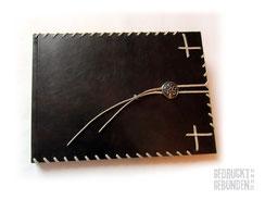 Lederalbum dunkelbraun 35cm x 25cm 100 Seiten schwarz Keltischer Knoten silberfarben Lederbänder hellbeige Fotoalbum Echtleder Hardcovereinband