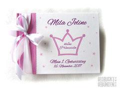 Foto Gästebuch 1. Geburtstag Mädchen Krone Kleine Prinzessin Sterne pink rosa weiß A5 Querformat 20 Blatt Fotokarton weiß
