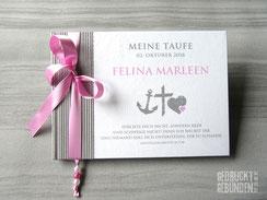 Gästebuch Taufe Mädchen Taufbuch Junge Taufgästebuch personalisiert Taufsymbole Glaube Liebe Hoffnung Taufgeschenk Name Anker Kreuz Herz