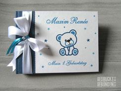 Foto Gästebuch Mein 1. Geburtstag Teddybär Sterne weiß blau dunkeltürkis Geburtstagsgeschenk personalisiert Kindergeburtstag Buch mit Namen