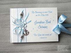 Taufbuch Anker weiß hellblau silber personalisierbares Taufbuch Taufgeschenk Junge Taufgästebuch individualisierbar Gästebuch Taufe
