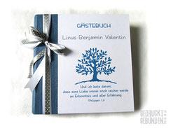 Fotoalbum Taufe Kommunion Konfirmation Taufalbum Lebensbaum blau weiß silberfarben Taufgeschenk Gästebuch Baum personalisierbar