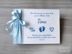 Foto Gästebuch Taufe Fotobuch Taufe blau weiß Taufsymbole Fische Füße Herz Taufgästebuch Junge Mädchen Taufbuch personalisiert Name Taufspruch