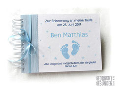 Kleines Fotoalbum Taufe Junge hellblau weiß Name Babyfüße Erinnerungsalbum personalisiert Fotoalbum individuell bedruckt