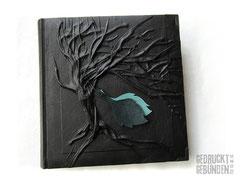 Fotoalbum Baum Blätter personalisierbar Trauerbuch Erinnerungsalbum Baumbestattung 100 Seiten schwarz
