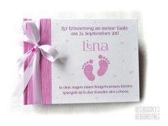 Gästebuch Taufe Babyfüße rosa pink weiß A5 Querformat 64 Seiten weiß Satinbänder Perle Herzen