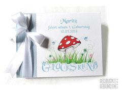Foto Gästebuch Kindergeburtstag Grafik Glückspilz Glückskind A5 Querformat 20 Blatt weiß Gästebuch 1. Geburtstag mit Namen in hellblau weiß grün rot gelb
