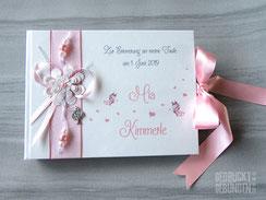 Foto Gästebuch Namensgebung Taufe Schmetterlinge Herzen Baum weiß rosa silberfarben individualisierbares Taufgeschenk personalisierbares Taufbuch