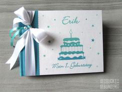 Foto Gästebuch Geburtstag Junge Geburtstagstorte Sterne petrol weiß mint A5 Querformat 20 Blatt Fotokarton weiß