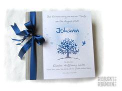 Taufalbum Baum des Lebens Taube Herzen personalisiertes Fotoalbum grau marineblau weiß individuelles Taufgeschenk Erinnerungsalbum Taufe