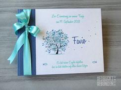 Foto Gästebuch Taufe Baum Fische blau weiß türkis personalisierbares Taufbuch Titel Name Spruch Farben