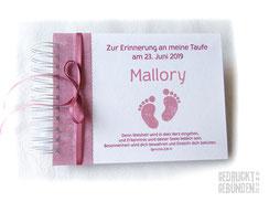 Kleines Fotoalbum zur Taufe Mädchen altrosa weiß Name Babyfüße Erinnerungsalbum personalisiert Fotoalbum individuell bedruckt