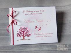 Foto Gästebuch mit bedruckten Innenseiten und Gästefragebögen Format 28cm x 22cm Farben weiß rosa altrosa goldfarben Grafik Bucheinband Baum des Lebens 2 Tauben  Sonne Herzen